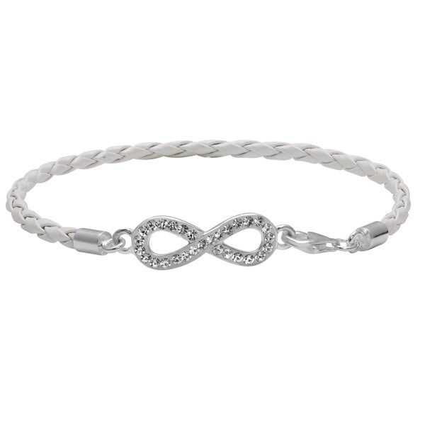 Sterling Silver Leather Crystal Infinity Charm Bracelet