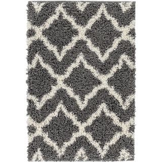 Well Woven Soft and Plush Shag Diamond Links Contemporary Grey, Ivory, and Charcoal Thick Area Rug (6'7 x 9'10) https://ak1.ostkcdn.com/images/products/10082589/P17225985.jpg?impolicy=medium
