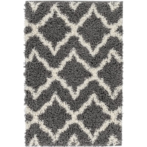 "Well Woven Shag Modern Geometric Charcoal Grey Ivory Thick Area Rug - 6'7"" x 9'10"""
