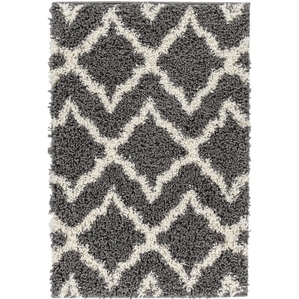 "Well Woven Shag Modern Geometric Grey, Ivory, and Charcoal Thick Area Rug - 6'7"" x 9'10"""