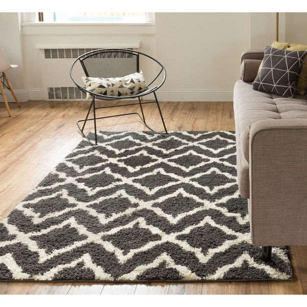 Well woven soft and plush shag diamond links contemporary for Thick area rugs sale