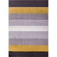 "Well Woven Soft Plush Shag Bold Stripes Grey Gold Area Rug - 6'7"" x 9'10"""