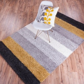 Well-woven Soft and Plush Shag Geometric Contemporary Modern Bold Stripes Grey and Gold Polypropylene Rug (5' x 7'2)