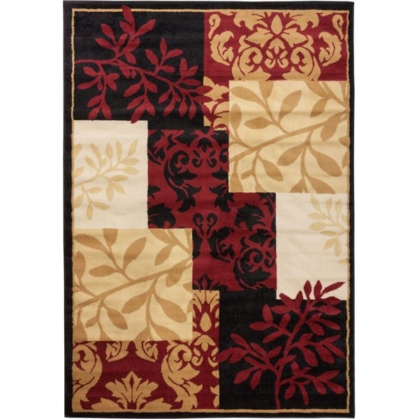 Well Woven Malibu Patchwork Leaves Brown Rug - 8'2 x 10'