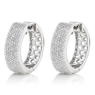 Luxurman 14k Gold Pave 1 1/5ct TDW Diamond Hoop Earrings (G-H, SI1-SI2)