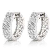 Luxurman 14k Gold Pave 1 1/5ct TDW Diamond Hoop Earrings