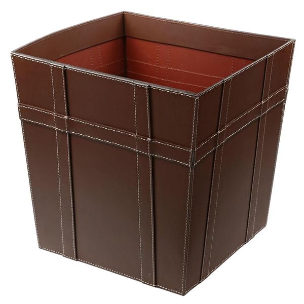Brown Leather Waste Basket