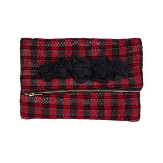 Handmade Red Recyled Tape and Cotton Metallic Plaid Clutch (India)