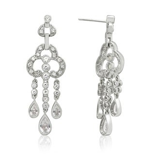 Gioelli Sterling Silver 2 3/4ct Cubic Zirconia Drop Dangle Earrings