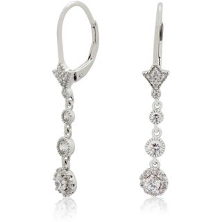 Gioelli Sterling Silver Cubic Zirconia Graduated Circles Dangle Earrings