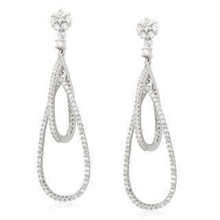 Gioelli Sterling Silver Cubic Zirconia Open Interlocked Teardrop Dangle Earrings