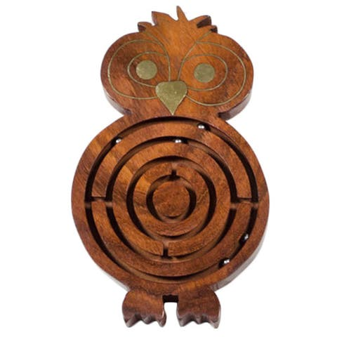 Handmade Wooden Night Owl Labyrinth (India)