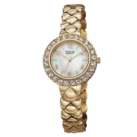 Burgi Women's Swiss Quartz Swarovski Crystals Stainless Steel Gold-Tone Bracelet Watch - Gold