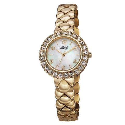 Burgi Women's Swiss Quartz Swarovski Crystals Stainless Steel Gold-Tone Bracelet Watch - GOLD