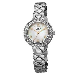 Burgi Women's Swiss Quartz Swarovski Crystals Stainless Steel Silver-Tone Bracelet Watch - silver