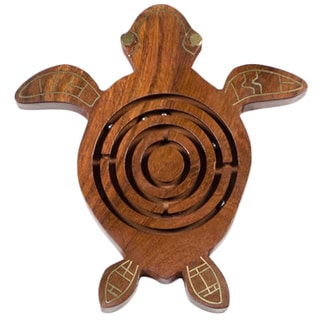 Handmade Wooden Sea Turtle Labyrinth Game (India)