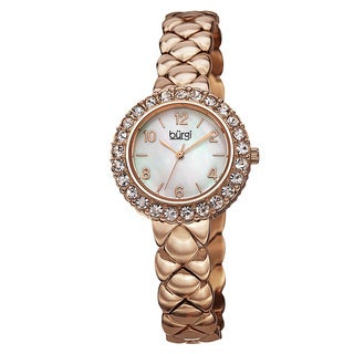 Burgi Women's Swiss Quartz Swarovski Crystals Stainless Steel Rose-Tone Bracelet Watch