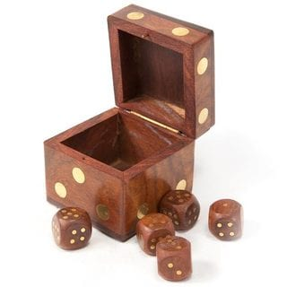 Hand-carved Rosewood Dice Box (India)