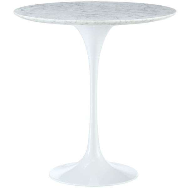 Lippa 20 Inch Tulip White Marble Top Side Table