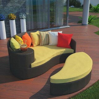 Taiji Outdoor Brown/ Orange Patio Daybed