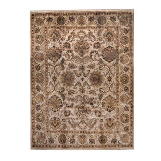 Herat Oriental Indo Hand-knotted Mahal Ivory/ Green Wool Rug (9' x 12')