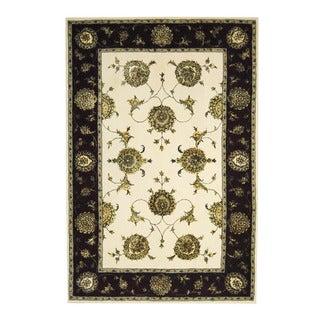 Herat Oriental Indo Hand-tufted Floral Tabriz Ivory/ Burgundy Wool/Silk Rug (5'10 x 8'9)