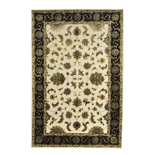 Herat Oriental Indo Hand-tufted Floral Tabriz Ivory/ Burgundy Wool/ Silk Rug (6' x 9')