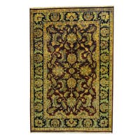 Handmade Herat Oriental Indo Mahal Red/ Black Wool Rug  - 6'2 x 9' (India)