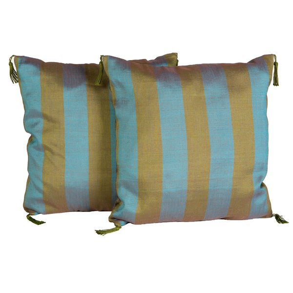 Handmade Olive and Blue Striped Pillow, Set of 2 (Morocco)