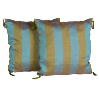 Handloomed Moroccan Olive and Blue Striped 16-inch Pillow Pair (Morocco)