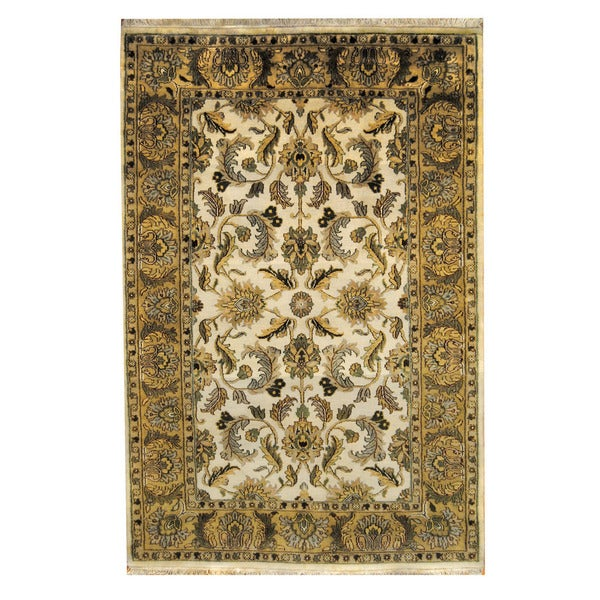 Herat Oriental Indo Hand-knotted Mahal Ivory/ Gold Wool Rug (6'2 x 9'3) - 6'2 x 9'3