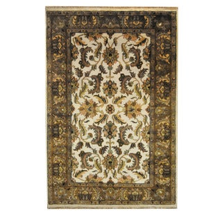 Herat Oriental Indo Hand-knotted Mahal Ivory/ Brown Wool Rug (6'1 x 9'1)