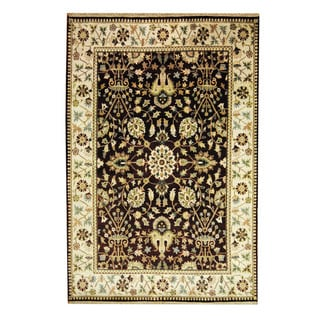 Herat Oriental Indo Hand-knotted Mahal Burgundy/ Beige Wool Rug (6'1 x 9')
