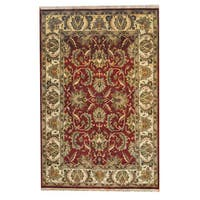 Herat Oriental Indo Hand-knotted Mahal Red/ Green Wool Rug (6'2 x 9'2) - 6'2 x 9'2