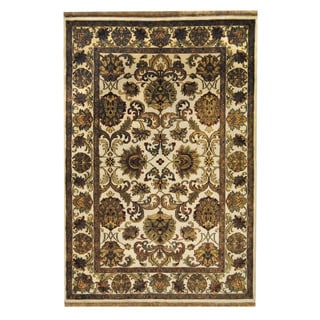 Herat Oriental Indo Hand-knotted Mahal Ivory/ Red Wool Rug (6'2 x 9')