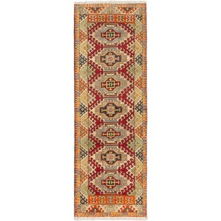 Ecarpetgallery Royal Kazak Beige, Red Wool Geometric Rug Runner (2'10 x 8'4)