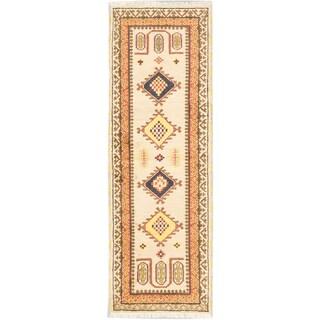 Ecarpetgallery Royal Kazak Light Yellow Wool Geometric Rug Runner (2'9 x 8'3)