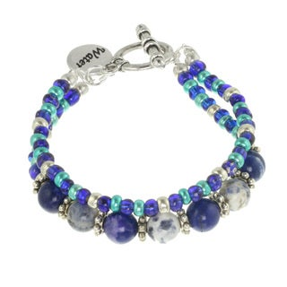 Blue Water Double-strand Multi Gemstone Toggle Bracelet