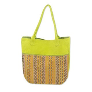 Handcrafted Cotton 'Maya Lemon' Tote Handbag (Guatemala)