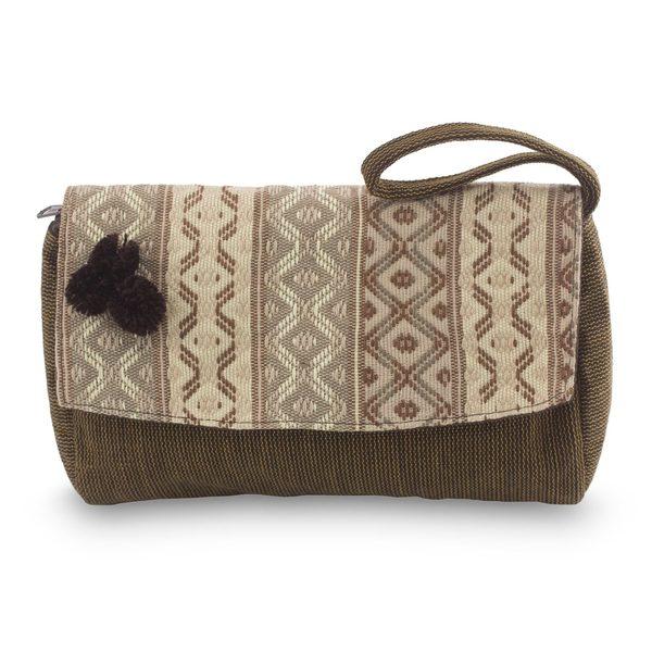 Novica Cotton wristlet handbag, Brown Maya Zigzags