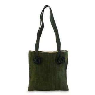 Handmade Maguey 'Green Maya Flowers' Shoulder Bag (Guatemala)