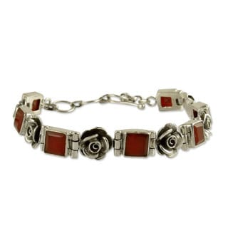 Sterling Silver 'Tropicana Rose' Carnelian Bracelet (India)