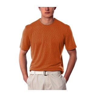 Natural Blue Men's Salmon Linen Crew Neck Shirt