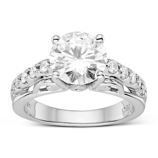 Charles & Colvard Sterling Silver 2.96 TGW Round Classic Moissanite Solitaire Fashion Ring