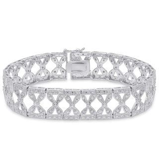 Finesque Sterling Silver 1/2ct TDW Diamond Bow Link Bracelet