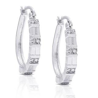 Finesque Silver Overlay Diamond Accent Hoop Earrings