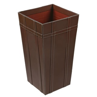 Tall 22 inch Brown Leather Basket