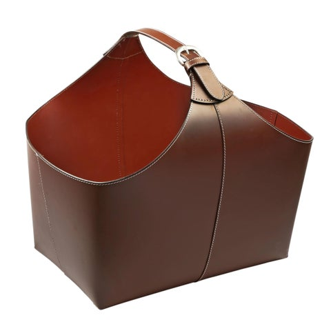 Brown Leather Magazine Basket with Strap