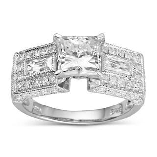 Charles & Colvard Sterling Silver 2.54 TGW Square Brilliant Classic Moissanite 3-stone Plus Ring