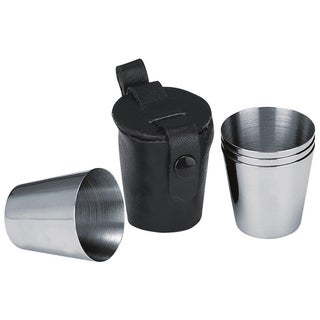 Visol Stainless Steel Shot Cups with Leather Carrying Case (Set of 4)
